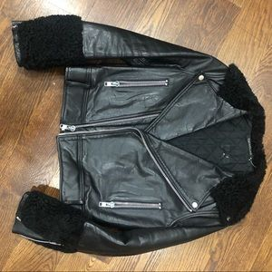 Jackets & Blazers - Black Leather Jacket with Shearling - ALL REAL